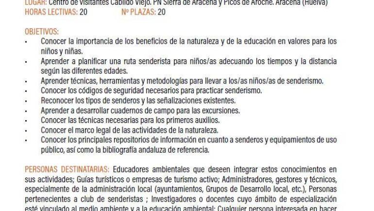 """Taller práctico de """"Aprendizaje Fluido"""" en el curso """"Senderismo para niños y niñas: una herramienta para la educación ambiental"""" (PAFA, octubre 2019)"""
